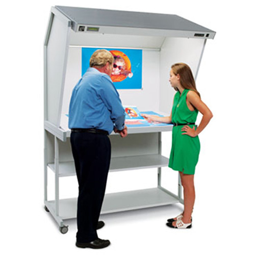 """GTI CVX-3052 Color Viewing Station with Floor Stand and 2 Shallow Drawers (29 x 52"""")"""