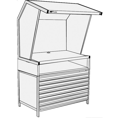 GTI CVX-3052/FD/TS Color Viewing Station with Flat File Drawers and Table Stand