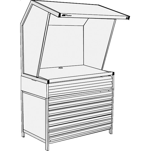 GTI CVX-3052/M/FD/2F Color Viewing Station with Three Light Qualities, Flat File Drawers, and Two Shallow File Drawers