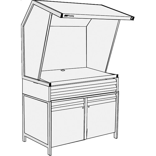 GTI CVX-3052/M/SC/2F Color Viewing Station with Three Light Qualities, Storage Cabinet, and Two Shallow File Drawers