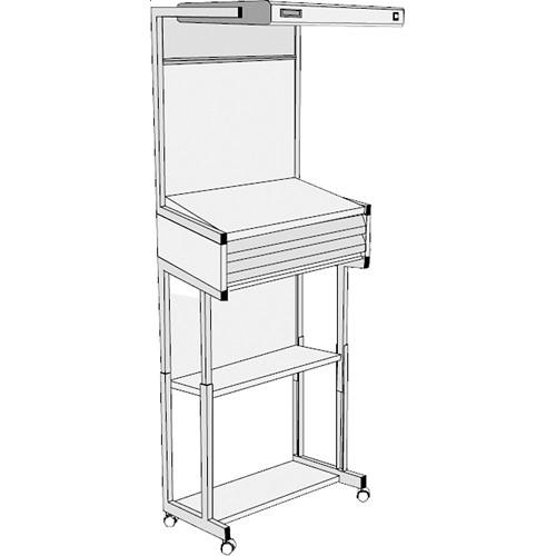 GTI EVS-2028/FS/2F Executive Viewing Station with Floor Stand and Two Shallow Drawers