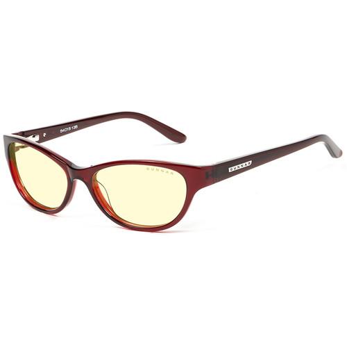 GUNNAR Jewel Computer Glasses (Maroon Frame, Amber Lens Tint)