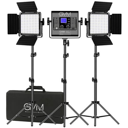 GVM 800D-RGB LED Studio 3-Video Light Kit