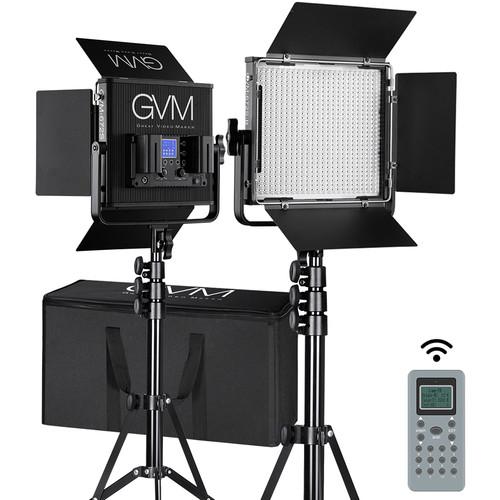 GVM 672S-B Bi-Color LED Studio Video Panel 2-Light Kit (Black)