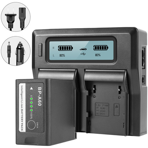 GVM Dual Charger with BP-A60 Battery for Canon C300 Mark II, C200 & C200B (6800mAh)