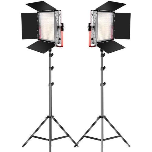 GVM LED Light Panels Studio Soft Video Light Bi-Color 2-Pack with Stand MB832-2L