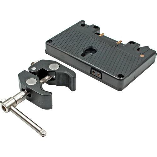 "GyroVu D-Tap Battery Plate with 1/4""-20 Thread & Adjustable Clamp Mount (Gold-Mount)"