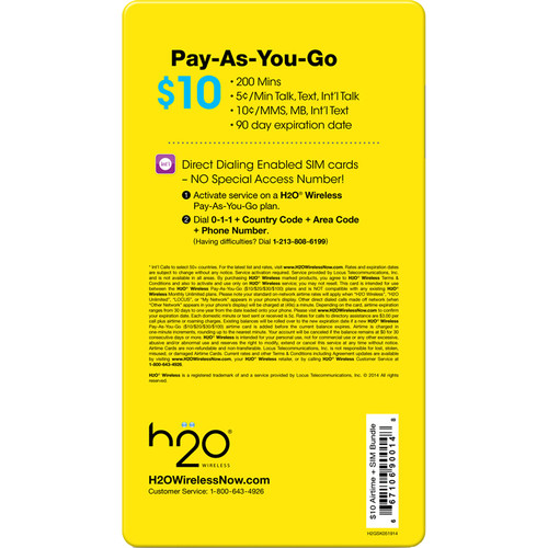 H2O WIRELESS $10 Pay-As-You-Go Plan 10-BUNDLE-AIRTME-TRIP-SIM