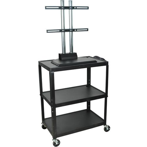 "H. Wilson Adjustable Height Steel LCD Cart - 24 x 18 x 24-42"" - (Black)"