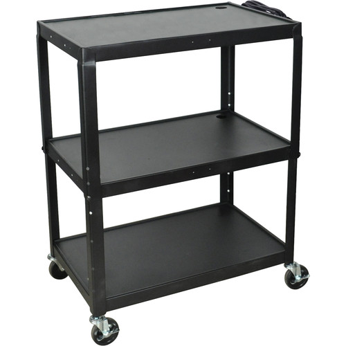 H. Wilson AVJ42XL Steel Adjustable Height Extra Large AV Cart - Black