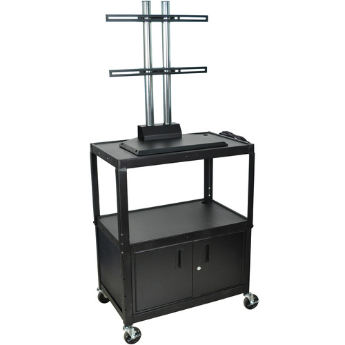 "H. Wilson Adjustable Height Steel LCD Cart with Cabinet - 32 x 20 x 24-42"" - (Black)"