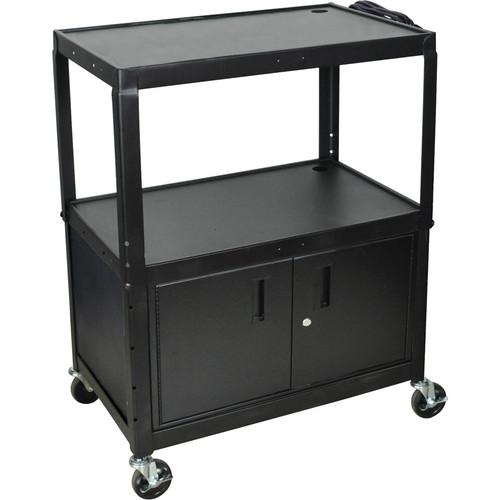 Luxor AVJ42XLC Steel Adjustable Height Extra Large AV Cart with Cabinet - Black