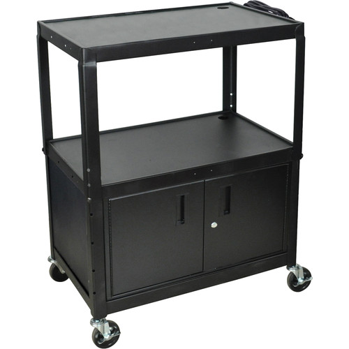 H. Wilson AVJ42XLC Steel Adjustable Height Extra Large AV Cart with Cabinet - Black