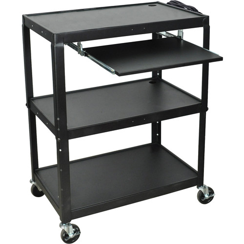 H. Wilson AVJ42XLKB Steel Adjustable Height Extra Large AV Cart with Keyboard Shelf - Black