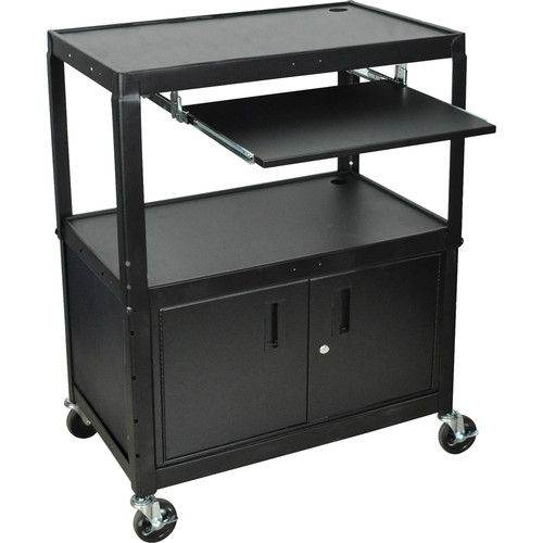 H. Wilson AVJ42XLKBC Steel Adjustable Height Extra Large AV Cart with Keyboard Shelf and Cabinet - Black
