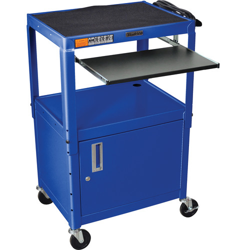 H. Wilson W42ACE Height Adjustable Steel A/V Cart with Cabinet & 2 Shelves (Blue)