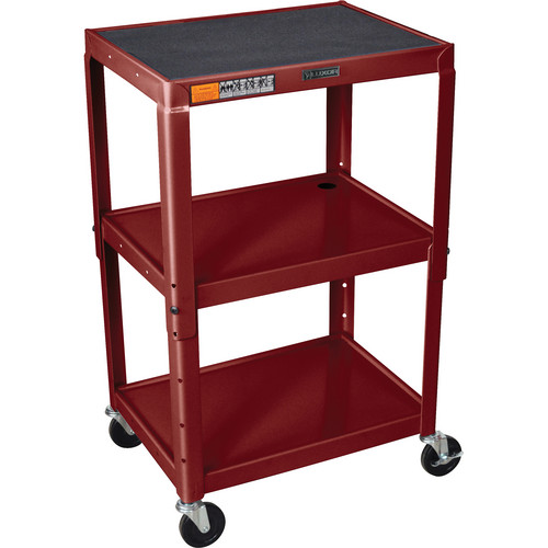 H. Wilson W42A Adjustable Steel AV Cart with 3 Shelves (Burgundy)