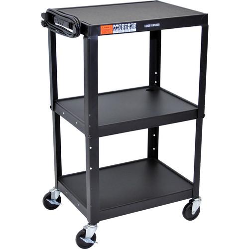 H. Wilson W42A Adjustable Steel AV Cart with 3 Shelves (Black)