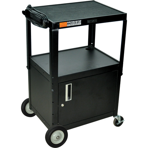 H. Wilson W42ACBE Adjustable Height Steel A/V Cart (Black)