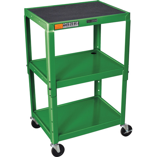 H. Wilson W42A Adjustable Steel AV Cart with 3 Shelves (Green)