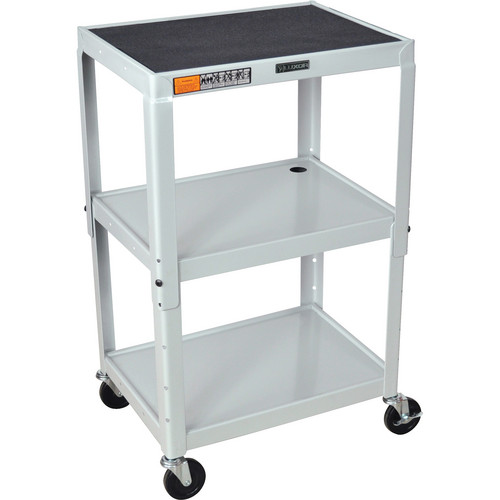 H. Wilson W42A Adjustable Steel AV Cart with 3 Shelves (Gray)