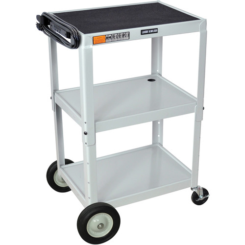 H. Wilson W42AGYBE Adjustable Height Steel A/V Cart (Gray)