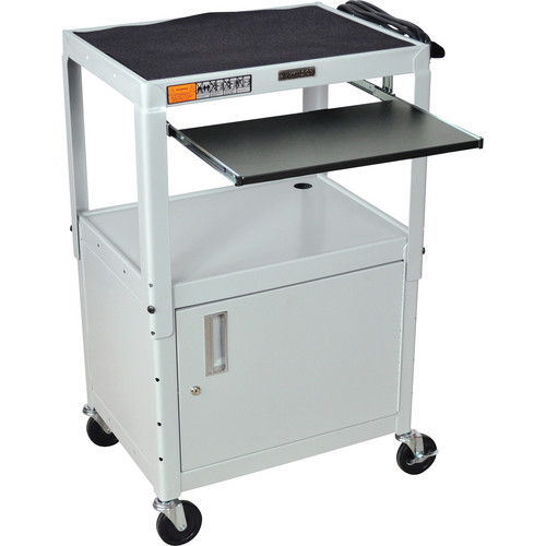 H. Wilson W42ACE Height Adjustable Steel A/V Cart with Cabinet & 2 Shelves (Gray)