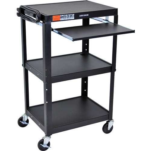H. Wilson W42AKB Adjustable Height Steel A/V Cart with Pullout Tray (Black)