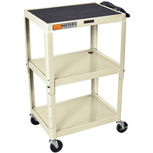 H. Wilson W42A Adjustable Steel AV Cart with 3 Shelves (Putty)