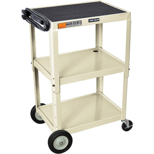 H. Wilson W42AOWBE Adjustable Height Steel A/V Cart (Putty)
