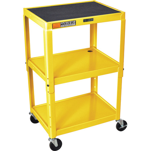 H. Wilson W42A Adjustable Steel AV Cart with 3 Shelves (Yellow)