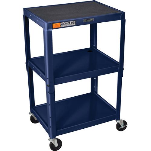 H. Wilson W42A Adjustable Steel AV Cart with 3 Shelves (Topaz)