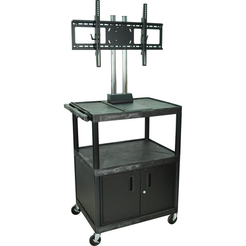 "Luxor Mobile Cart with Cabinet, 2 Shelves, WFST Universal LCD TV Mount & Electrical Outlet for 37""-60"" Monitor (Black)"