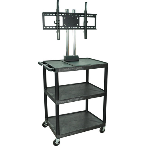 "Luxor Mobile Cart with 3 Shelves and WFST Universal LCD TV Mount for 37""-60"" Monitor (Black)"