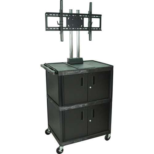 Luxor Mobile Cabinet Cart with Universal LCD TV Mount & 2 Cabinets (Black)