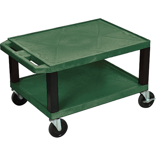"""Luxor WT16HG-B 16"""" Tuffy A/V Cart with Two Shelves and Black Legs (Hunter Green)"""