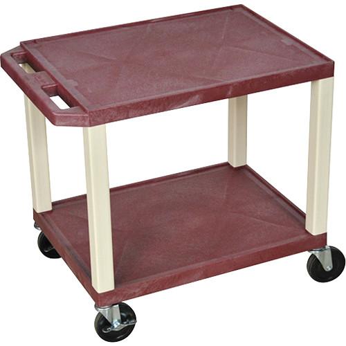 "Luxor WT26BYE Tuffy Open Shelf A/V Cart (24.5 x 24 x 18"") (Burgundy with Putty Legs)"