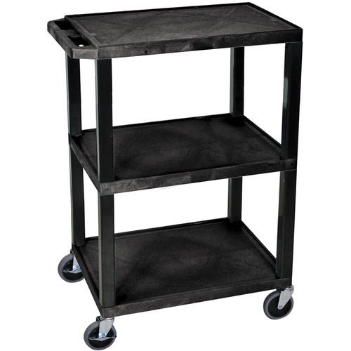 Luxor Tuffy Special Utility Cart with 3 Shelves (Black Shelves, Black Legs)