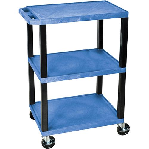 Luxor Tuffy Special Utility Cart with 3 Shelves (Blue Shelves, Black Legs)