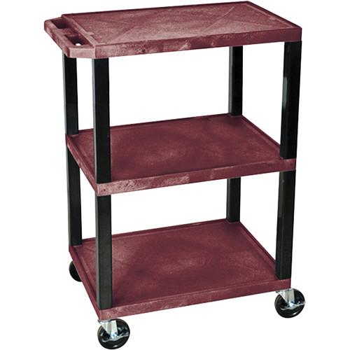 Luxor Tuffy Special Utility Cart with 3 Shelves (Burgundy Shelves, Black Legs)