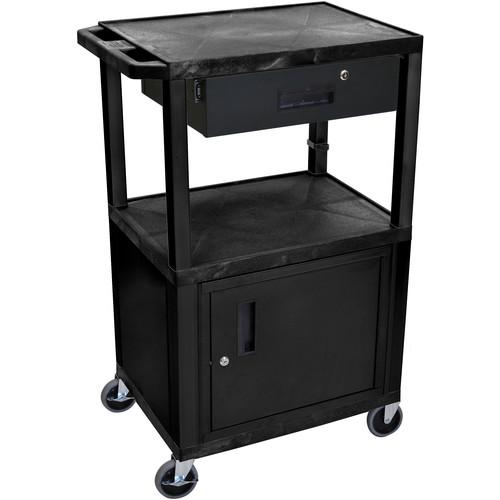 "Luxor WT42C2-B/WTD 42"" Tuffy 3-Shelf Cart with Cabinet & Drawer (Black)"