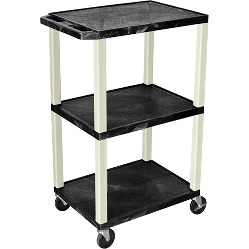 Luxor Tuffy AV Multi-Purpose Cart with 3 Shelves & Putty Legs (Black)