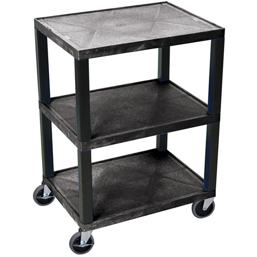 "Luxor WT42NH-B 42"" 3-Shelf Tuffy Utility Cart (Black)"