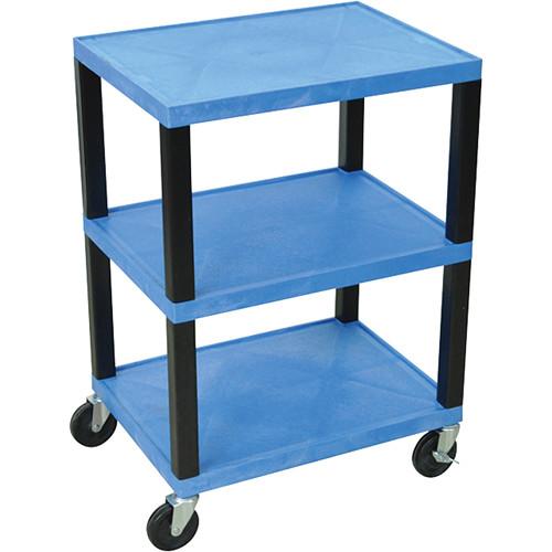"""Luxor WT42NHBU-B 42"""" 3-Shelf Tuffy Utility Cart (Blue)"""