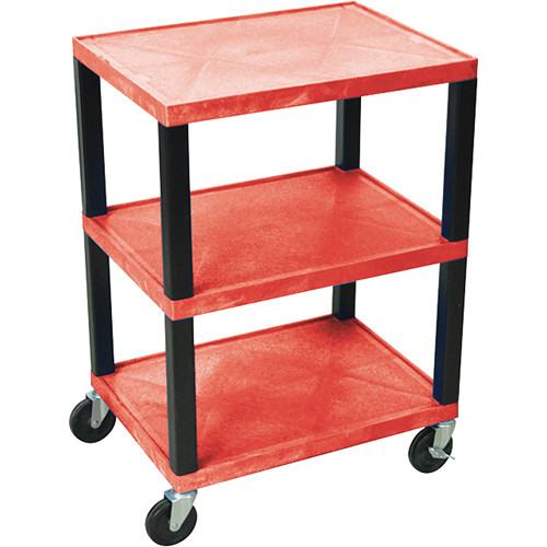 "Luxor WT42NHR-B 42"" 3-Shelf Tuffy Utility Cart (Red)"