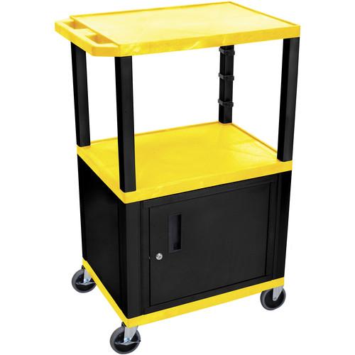 "Luxor WT42YC2-B 42"" Tuffy 3-Shelf AV Cart with Cabinet (Yellow with Black Legs)"