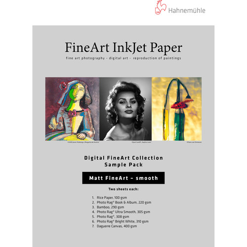 "Hahnemühle Matte Smooth FineArt Inkjet Paper Sample Pack (13 x 19"", 12 Sheets)"
