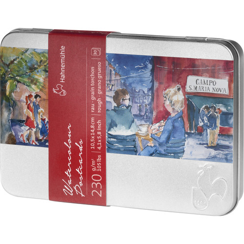 """Hahnemühle Rough Watercolor Postcards in Metal Box (4.1 x 5.8"""", 30 Sheets)"""
