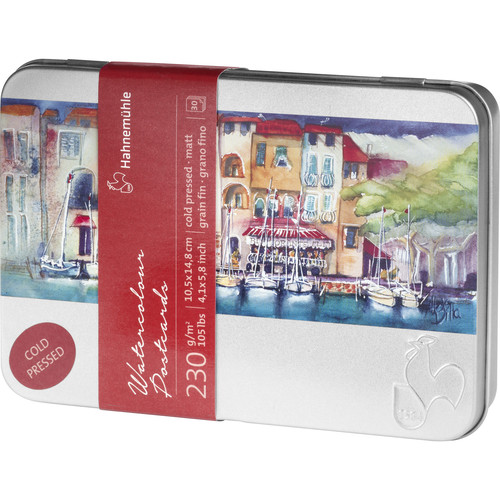 """Hahnemühle Cold Pressed Watercolor Postcards in Metal Box (4.1 x 5.8"""", 30 Sheets)"""