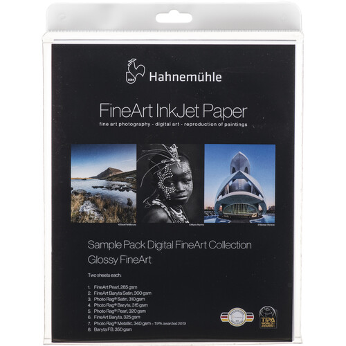 """Hahnemühle FineArt Glossy Inkjet Paper Sample Pack (8.5 x 11"""", 16 Sheets)"""
